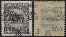FIUME - 1921 - segnatasse - cent.02 su 15 grigio  doppia varietà - Firmata Colla