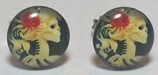 Victorian Skull Lady Steampunk Rockabilly Earrings 1 Pair Studs Unisex