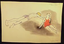 1940'S CONSTANCE STOKES SIGNED WATER COLOUR & INK DRAWING FARM POOL MICHAEL & LU