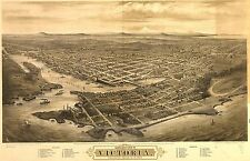 1878 BIRD'S EYE VIEW OF VICTORIA, VANCOUVER ISLAND, B.C., CANADA COPY POSTER MAP