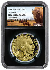 2018-W 1 oz Gold Buffalo Proof $50 NGC PF70 UC Black Buffalo Label SKU53727