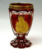 BIEDERMEIER BECHER BÖHMEN GESCHLIFFEN RUBINROT BOHEMIAN BEAKERS CUPS UM 1870