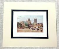1906 Antico Stampa Ely Cathedral The Mercato Place Vista Vecchio Inglese