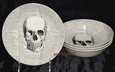Royal Stafford Skull & Script * 4 SOUP / CEREAL BOWLS * Halloween, New!