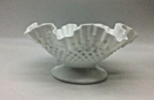 "Vintage Fenton White Milk Glass Hobnail Ruffled Edge Footed Bowl Dish Rare 10.5"""