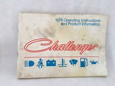 1978 Dodge Challenger Owners Manual and Product Information