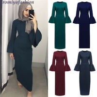 Women Slim Long Dress Elegant Muslim Prayer Abaya Islamic Bell Sleeve Kaftan