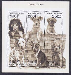 Burkina Faso 1140 MNH 1999 260F Various Dogs Souvenir Sheet of 6 Very Fine