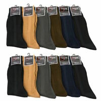 12 Pairs Knocker Men  Multi Color Ribbed Crew Dress Socks Size 10-13