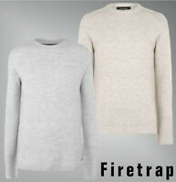 Mens Firetrap Crew Neck Long Sleeves Textured Knit Jumper Sizes from S to XXL
