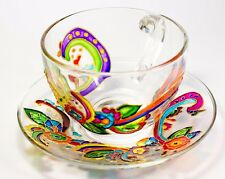 Unique Glass Tea Cup and Saucer Tea Set Hand Painted Floral Mothers Day Gift