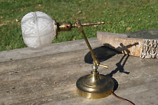 ANTIQUE BRASS STUDENT DESK LAMPS LAWYERS OFFICE MILK GLASS GLOBE WORKING READING