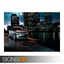LAND ROVER DISCOVERY 4 WHITE CAR POSTER AA666 Poster Print Art A0 A1 A2 A3