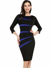 """MEEGAN"" BEAUTIFUL LADIES SIZE 16-18 BLACK BLUE GEOMETRIC STRETCH PENCIL DRESS"