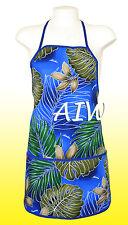 Unisex canvas Hawaiian floral print apron - 502Navy