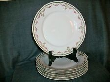 6 assiettes plates en porcelaine de paris ? limoges décor de guirlande de rose 2