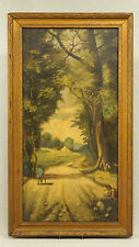 Arts & Crafts Cottage Shepherd Crooked Staff Sheep Mystery Artist Painting as is