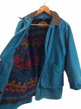 Vintage Woolrich Teal Barn Coat Blanket Wool Lined Wonens Medium