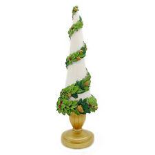 Albero di Natale Shabby Chic Resina Colore Bianco Oro Verde Altezza 47 cm Blanc