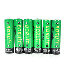 6pcs BORUIT High capacity 18650 6000mAh  3.7V Li-Ion PCB Rechargeable Batteries