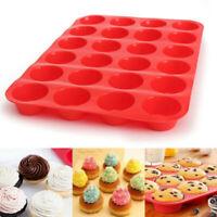 24-Loch Rund Silikon Muffins Kuchen Form Backblech Muffin Kuchen Pudding Form