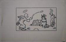 Beau Dessin Ancien Encre SERGE SEGRET Illustration Ange et Démon