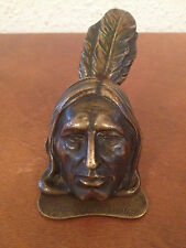 Antique Real Vienna Bronze Native American Indian Wall / Desk Letter Paper Clip