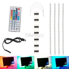 4x 50cm USB LED Home Theater TV BackLight Remote RGB Accent Back Lighting Strip