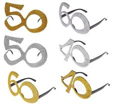 NOVELTY BIRTHDAY GLASSES GLITTER PARTY 40TH 50TH 60TH GOLD SILVER FANCY DRESS
