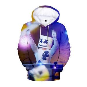 Fortnite DJ Marshmallow man Boys blue unisex Nylon top hoodie 3D Print 6-18 Yrs