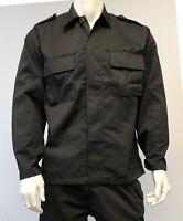 Mens Military Battle Dress Uniform BDU Shirt Tactical Security Jacket - Black