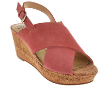 Isaac Mizrahi Live! Suede Cross Band Wedge Sandals Pink Coral Suede Women's 12