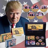 Donald Trump 2020 Gold Coin Bnaknote Poker Keep America Great Gift Box Set