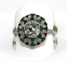 3.00Ct VS1 Estate Cushion Diamond Solitaire Emerald & Sapphire Ring Platinum