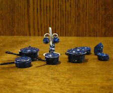 Doll/Teddy Miniature Accessory; Spotted Blue Metal Kitchen Accessories