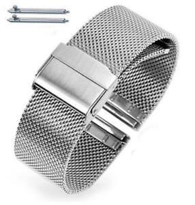 Silver Steel Adjustable Mesh Bracelet Watch Band Strap Double Lock Clasp #5025