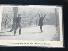 "Antigue Crime Postcard ""A Hold-up In The Park"" c 1910. Gun"