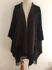 Reversible Open Drape Shawl Cardigan Black & Brown Floral Unbranded One Size