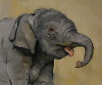 Original Oil painting wildlife art baby elephant  portrait by j payne