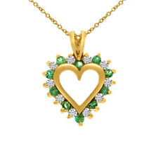 """14k Yellow Gold Sapphire and Diamond Heart Shaped Pendant With 18"""" Chain"""