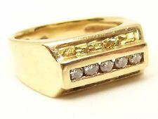 Vtg 14K Gold Nugget Ring Sz 8.75 Diamond .25tcw Placer Ore Estate Cigar Band