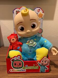 "NEW!!! COCOMELON Plush Bedtime JJ Doll, 10"" with Sound NEW IN PACK (BACK UNTIED)"