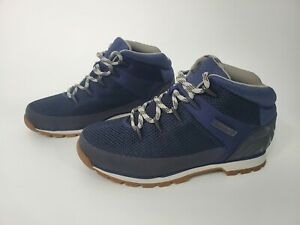 Timberland mens euro sprint lace up mid hiking casual navy boot A1G98 fabric NEW