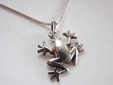 Very Small Frog Necklace 925 Sterling Silver Corona Sun Jewelry lake pond lilly