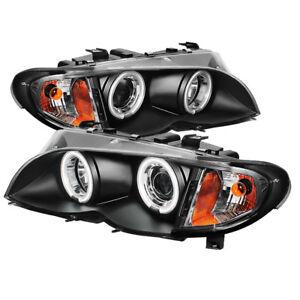 BMW 02-05 E46 3-Series 4DR Sedan Black CCFL Halo Projector Headlights 325i 330i