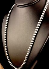 "Native American Navajo Pearls 6mm Sterling Silver Bead Necklace 21"" Sale"