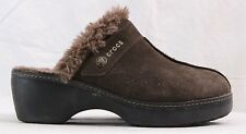 Crocs Suede Faux Fur Split Toe Wedge Cobbler Clog Mules Women's U.S. 10