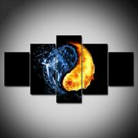 5 pcs HD Art Fire and Water Yin Yang Circle Poster Wall Home Decor Canvas Print