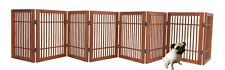 Pet Dog gate Strong and Durable 8 Panel Solid Acacia Hardwood Folding Fence