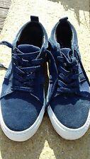 Zara Taglia 8 EU 41 Blue Suede Scarpe da ginnastica